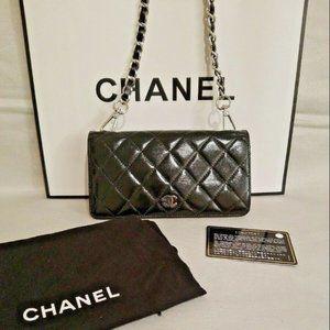 Chanel Clutch Purse Crossbody Chain Auth Card